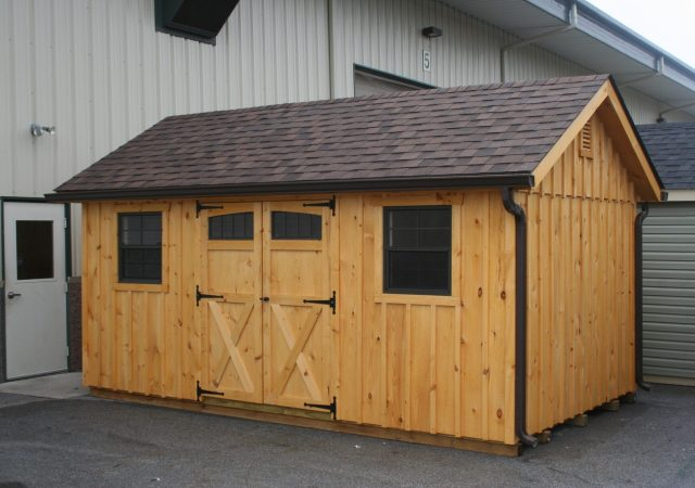 10x16 Board & Batton Garden Shed with Optional Transome Windows & Gutters