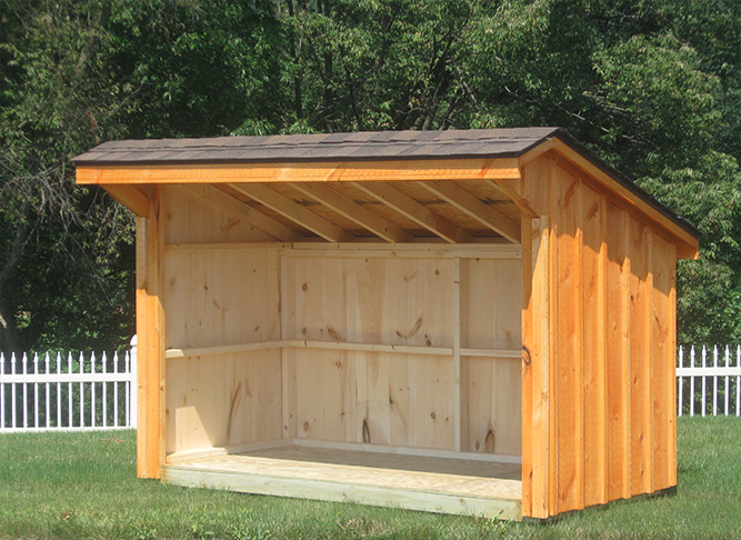 Wooden Firewood Shed W Lean To Roof