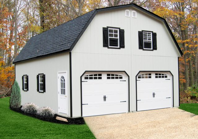 24x28 2-Story Gambrel Style Garage with Painted Smartside Siding