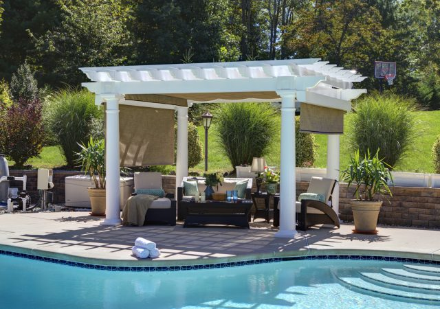 12x12 Vinyl Artisan Pergola with Optional Canopy and Curtains
