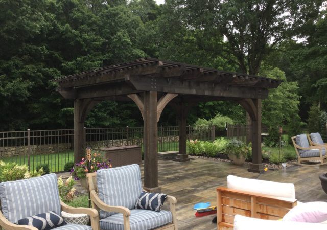 12x16 Kingston Pergola, Cinder Stain