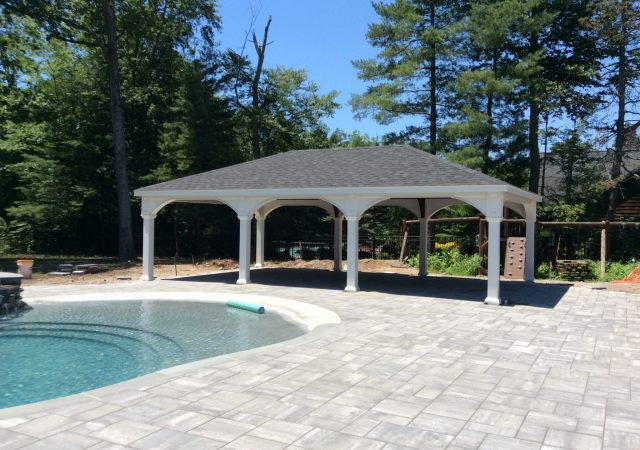 20x32 White Vinyl Pavilion, 8x8 posts, Dual Black Shingle