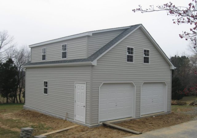 24x28 2-Story Vinyl A-Frame Garage shown with Optional Shed Dormer
