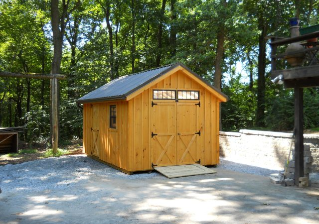 10x16 Board & Batton Garden Shed with Transomes above Doors and Metal Roof