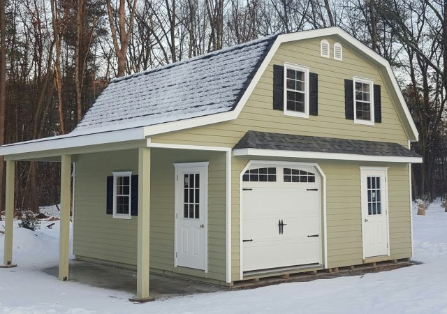 20x24 2-Story Gambrel with Optional pent roof and 8' overhang (New Hampshire) Lap Siding