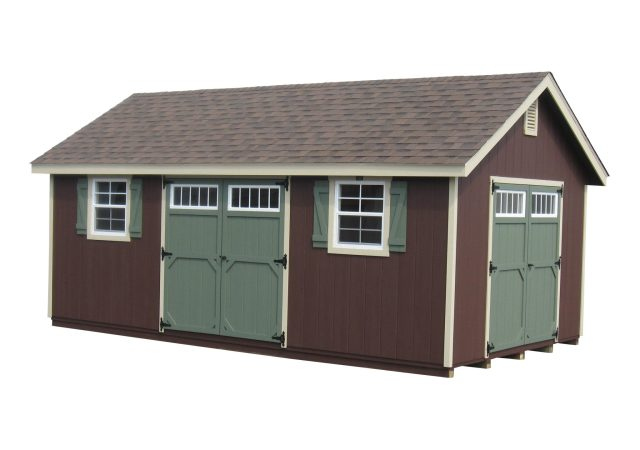 12x20 Garden Shed (Dark Brown with Sandstone Trim)