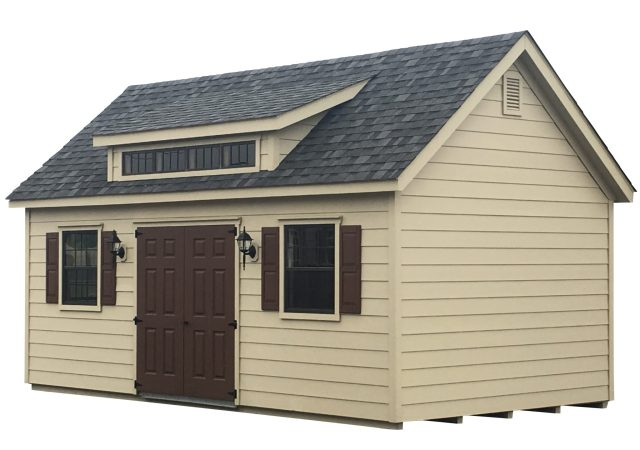 12x22 Hardie Plank Garden Shed Elite with Optional Transome Dormer and Electric Package