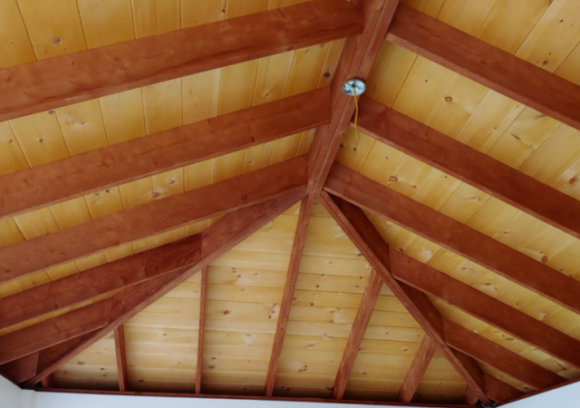 Mahogany Rafters with Natural Stain